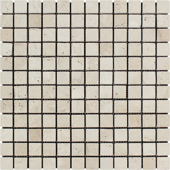 1 x 1 Tumbled Ivory Travertine Mosaic Tile