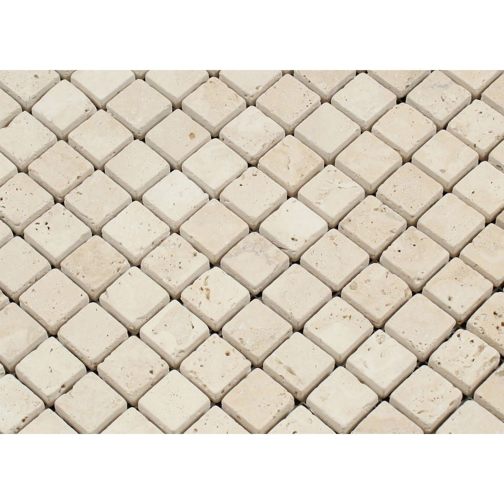 1 x 1 Tumbled Ivory Travertine Mosaic Tile - Tilephile