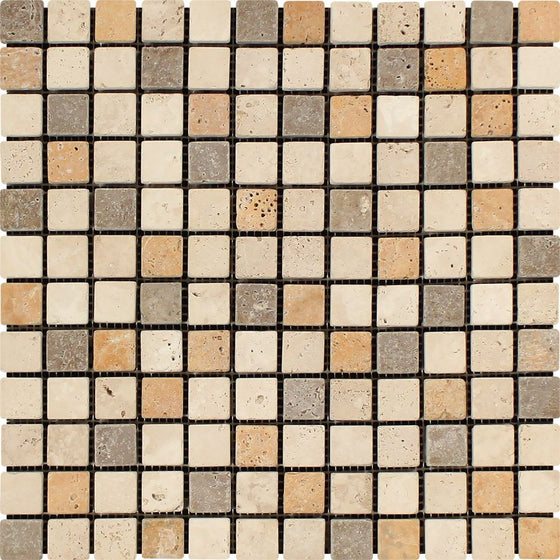 1 x 1 Tumbled Mixed Travertine Mosaic Tile (Ivory + Noce + Gold) - Tilephile