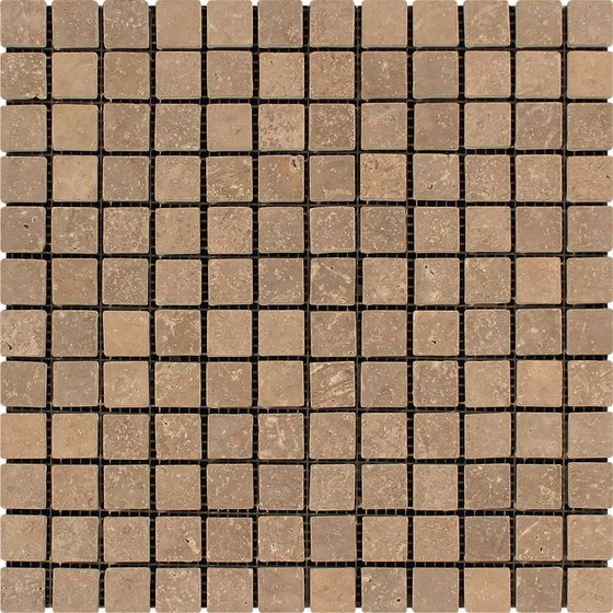 1 x 1 Tumbled Noce Travertine Mosaic Tile - Tilephile