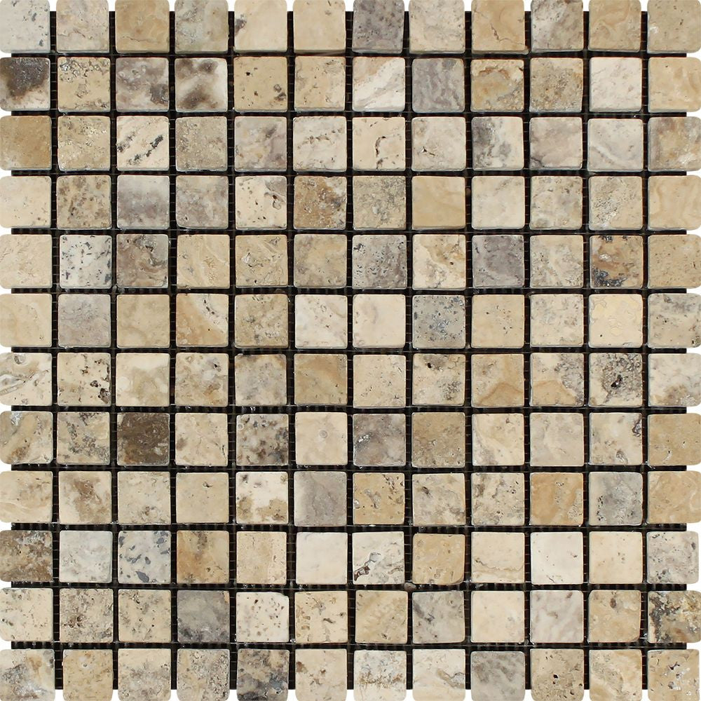 1 x 1 Tumbled Philadelphia Travertine Mosaic Tile - Tilephile