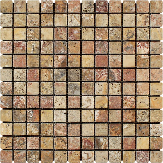 1 x 1 Tumbled Scabos Travertine Mosaic Tile
