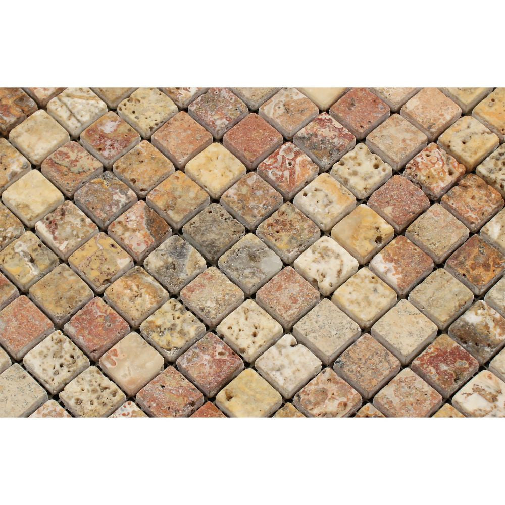 Scabos Travertine 1 X 1 Mosaic Tile Tumbled