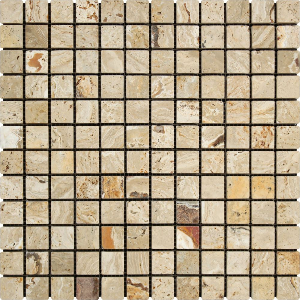 1 x 1 Tumbled Valencia Travertine Mosaic Tile Sample - Tilephile