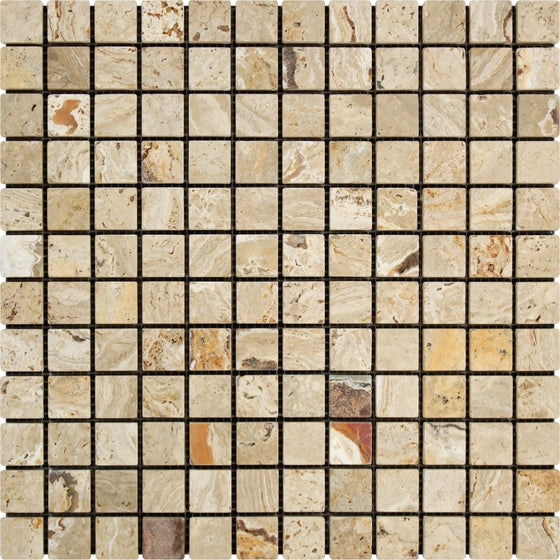 1 x 1 Tumbled Valencia Travertine Mosaic Tile - Tilephile