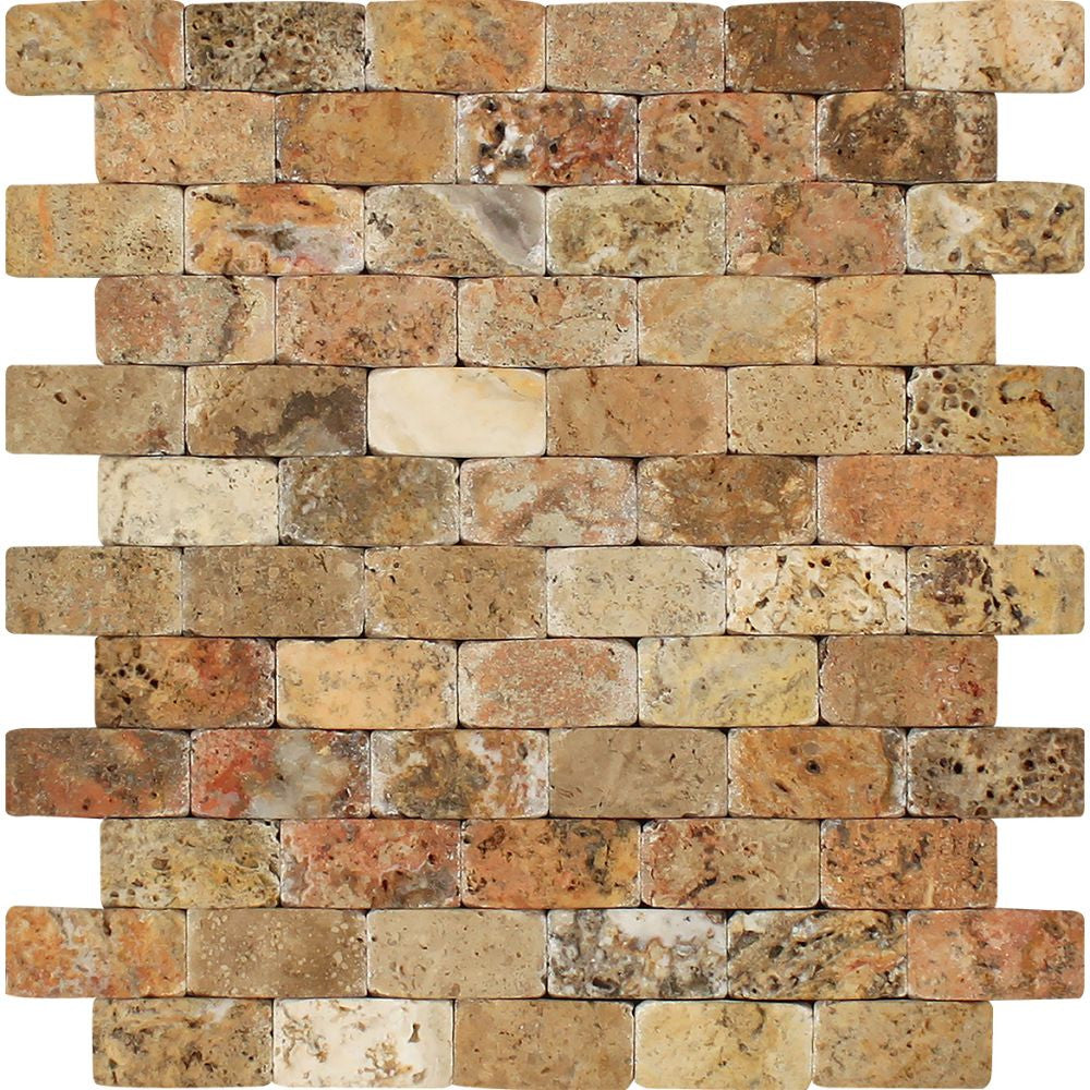 1 x 2 CNC-Arched Scabos Travertine Brick Mosaic Tile Sample - Tilephile