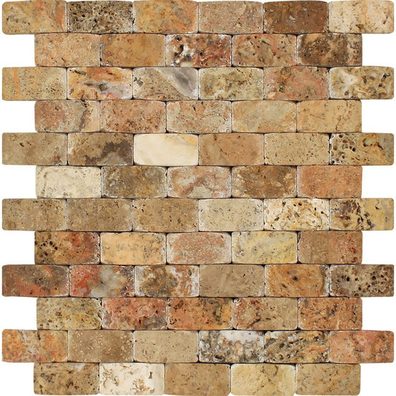 1 x 2 CNC-Arched Scabos Travertine Brick Mosaic Tile - Tilephile