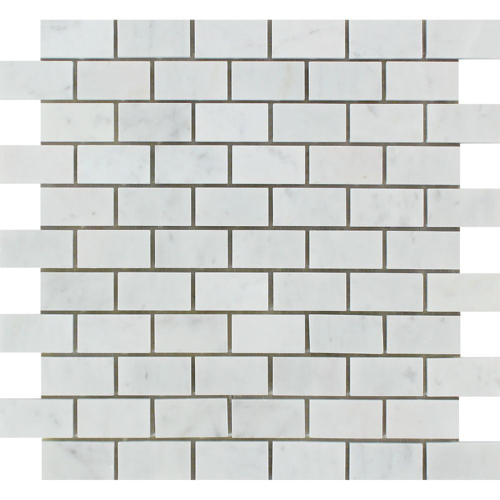 1 x 2 Honed Bianco Carrara Marble Brick Mosaic Tile