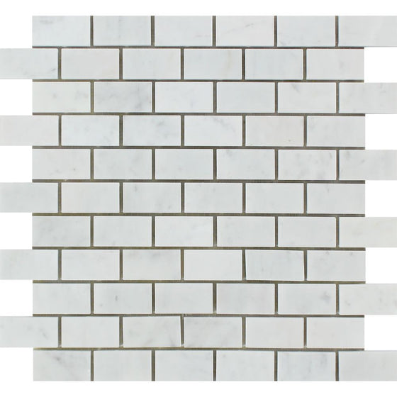 1 x 2 Honed Bianco Carrara Marble Brick Mosaic Tile - Tilephile