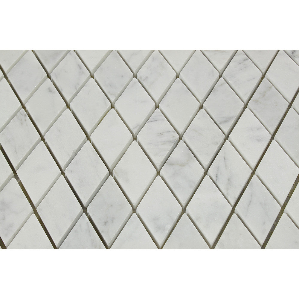 1 x 2 Honed Bianco Carrara Marble Diamond Mosaic Tile
