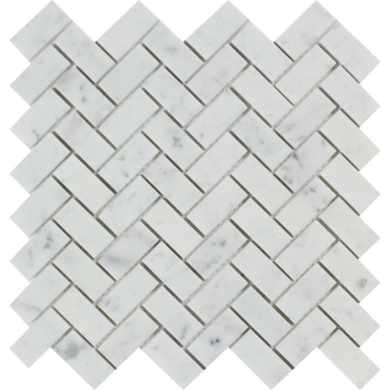 1 x 2 Honed Bianco Carrara Marble Herringbone Mosaic Tile - Tilephile