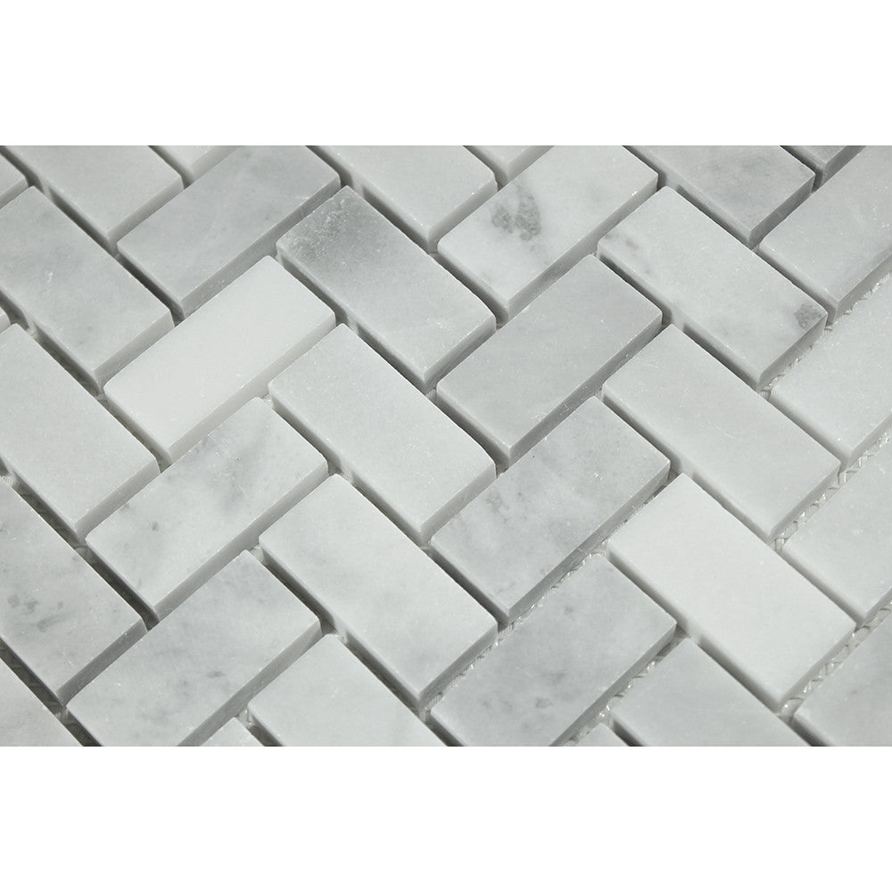 1 x 2 Honed Bianco Mare Marble Herringbone Mosaic Tile