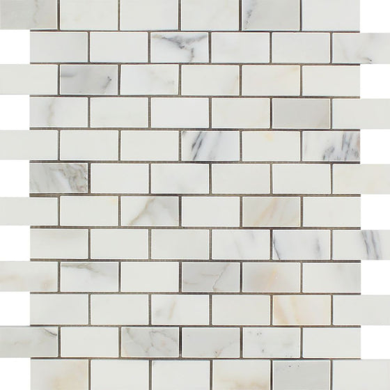 1 x 2 Honed Calacatta Gold Marble Brick Mosaic Tile