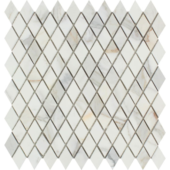 1 x 2 Honed Calacatta Gold Marble Diamond Mosaic Tile - Tilephile