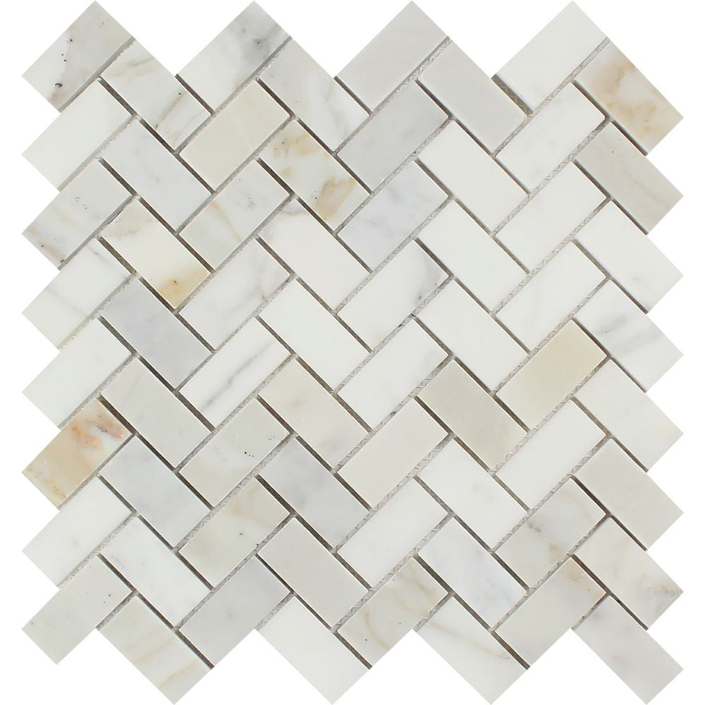 1 x 2 Honed Calacatta Gold Marble Herringbone Mosaic Tile Sample - Tilephile
