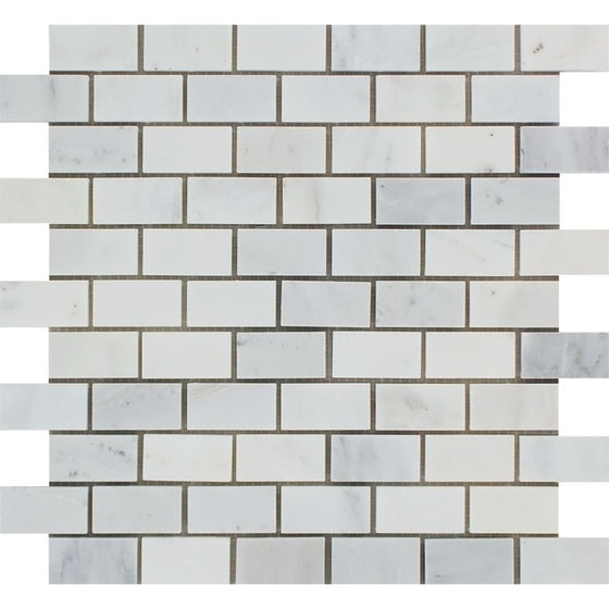 1 x 2 Honed Oriental White Marble Brick Mosaic Tile - Tilephile