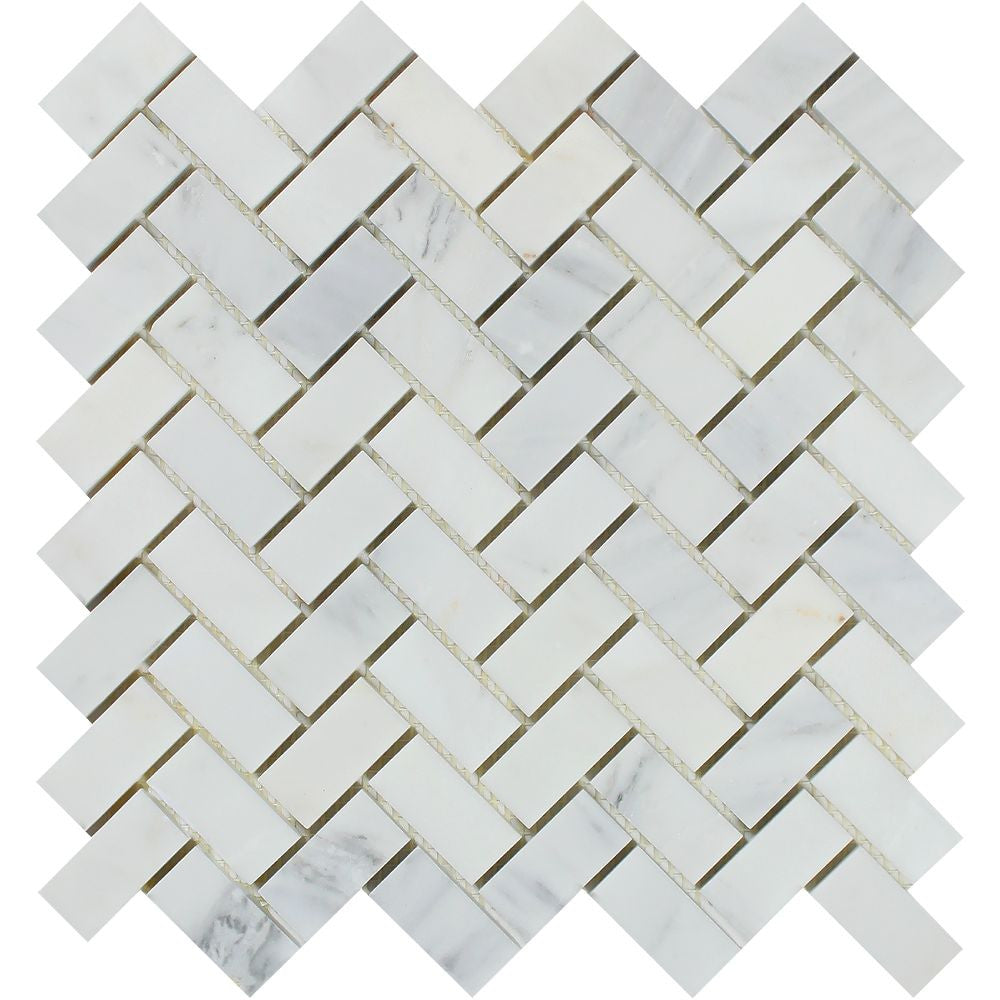 1 x 2 Honed Oriental White Marble Herringbone Mosaic Tile - Tilephile