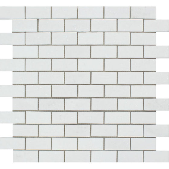 1 x 2 Honed Thassos White Marble Brick Mosaic Tile