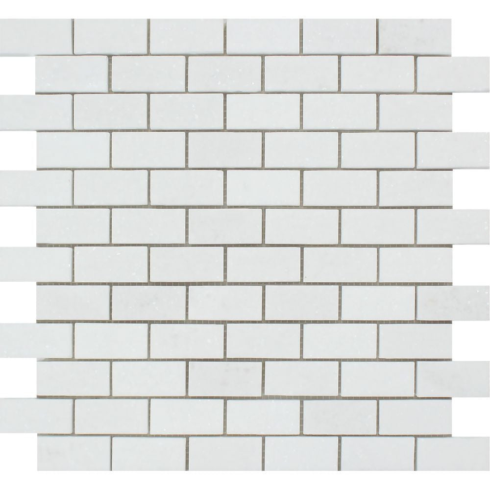 1 x 2 Honed Thassos White Marble Brick Mosaic Tile Sample - Tilephile
