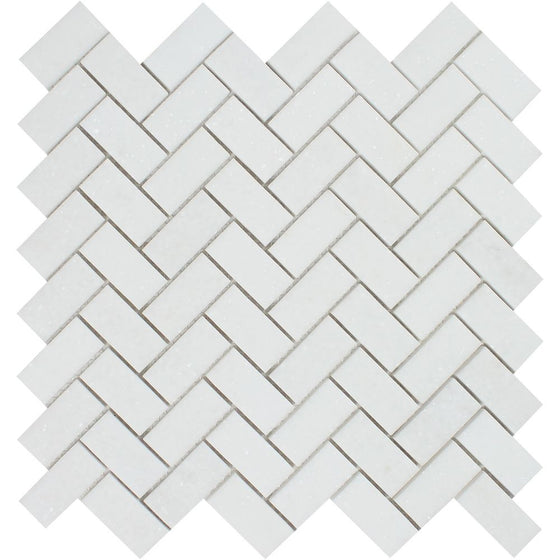1 x 2 Honed Thassos White Marble Herringbone Mosaic Tile - Tilephile