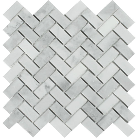 1 x 2 Polished Bianco Mare Marble Herringbone Mosaic Tile