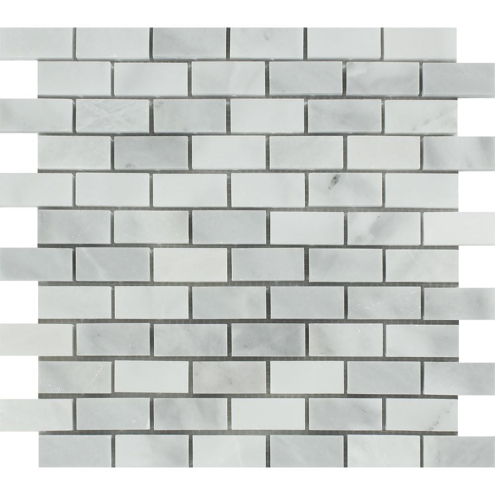 1 x 2 Polished Bianco Mare Marble Mosaic Tile Sample - Tilephile