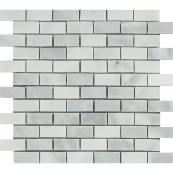 1 x 2 Polished Bianco Mare Marble Mosaic Tile