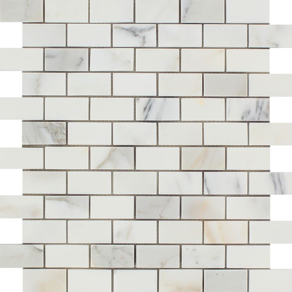 1 x 2 Polished Calacatta Gold Marble Brick Mosaic Tile Sample - Tilephile