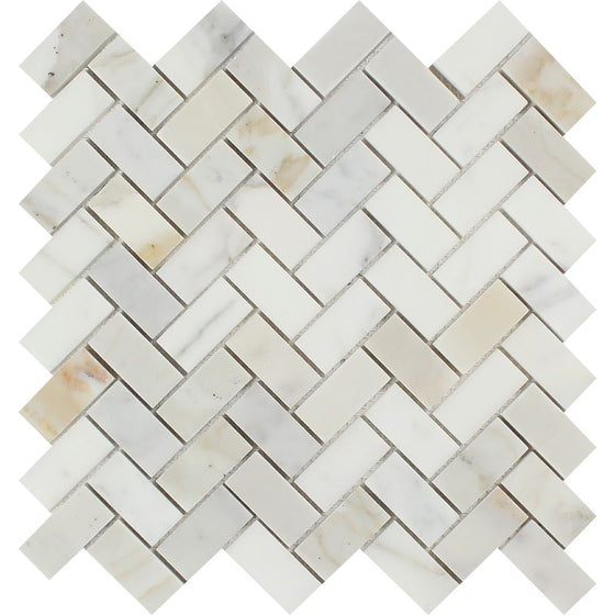 1 x 2 Polished Calacatta Gold Marble Herringbone Mosaic Tile