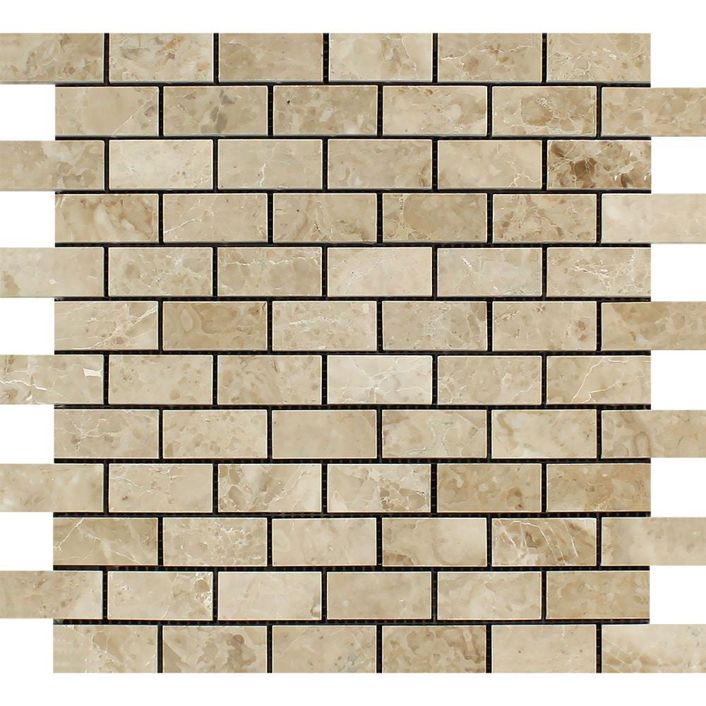 1 x 2 Polished Cappuccino Marble Brick Mosaic Tile - Tilephile