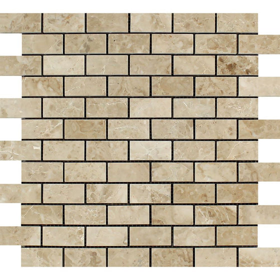 1 x 2 Polished Cappuccino Marble Brick Mosaic Tile