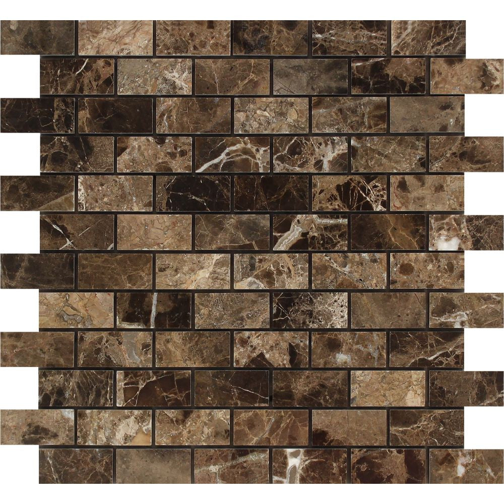 1 x 2 Polished Emperador Dark Marble Brick Mosaic Tile - Tilephile