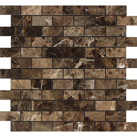 1 x 2 Polished Emperador Dark Marble Brick Mosaic Tile