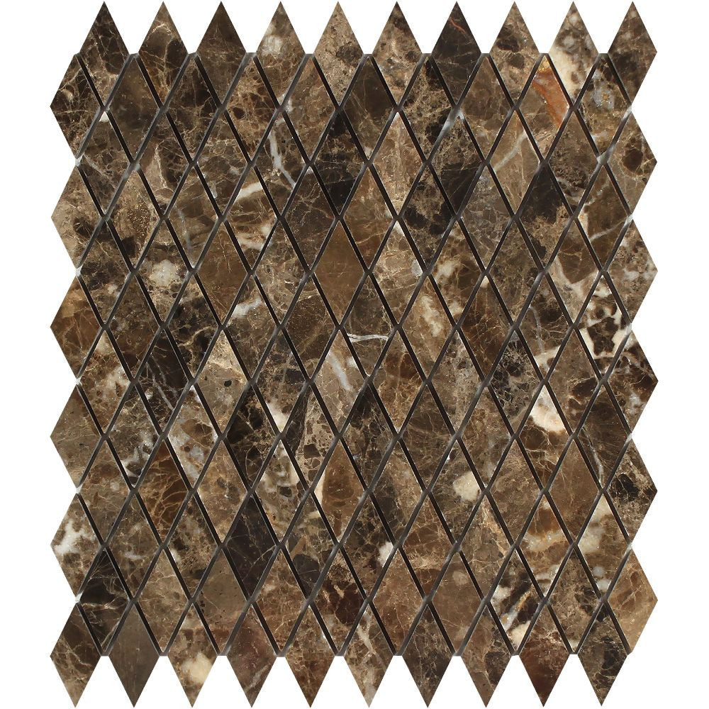 1 x 2 Polished Emperador Dark Marble Diamond Mosaic Tile Sample - Tilephile