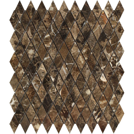 1 x 2 Polished Emperador Dark Marble Diamond Mosaic Tile - Tilephile