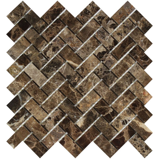 1 x 2 Polished Emperador Dark Marble Herringbone Mosaic Tile - Tilephile