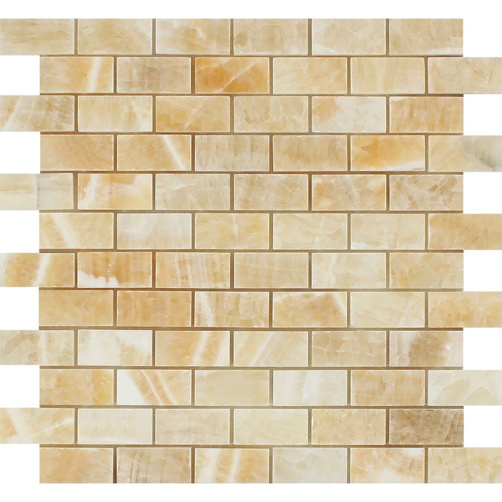 1 x 2 Polished Honey Onyx Brick Mosaic Tile Sample - Tilephile