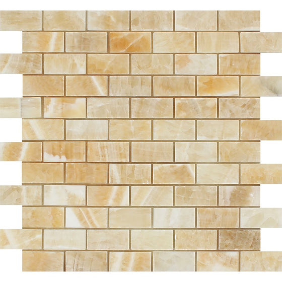 1 x 2 Polished Honey Onyx Brick Mosaic Tile - Tilephile