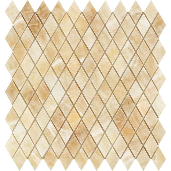 1 x 2 Polished Honey Onyx Diamond Mosaic Tile - Tilephile