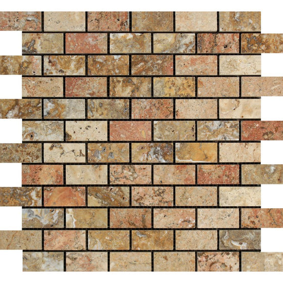 1 x 2 Polished Scabos Travertine Brick Mosaic Tile