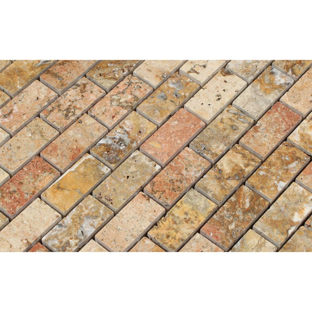 1 x 2 Polished Scabos Travertine Brick Mosaic Tile - Tilephile