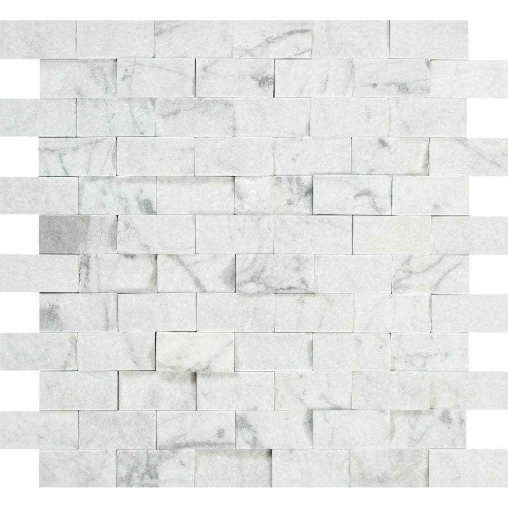 1 x 2 Split-faced Bianco Carrara Marble Brick Mosaic Tile - Tilephile