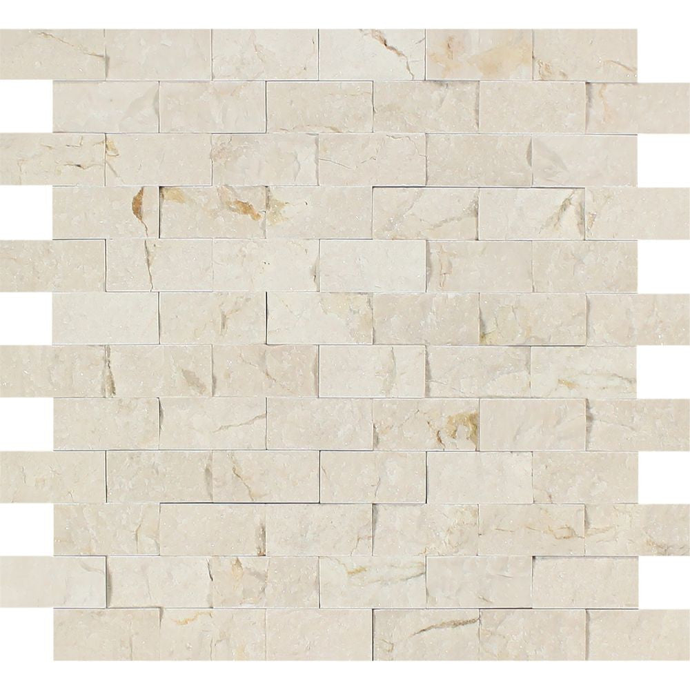 1 x 2 Split-faced Crema Marfil Marble Brick Mosaic Tile Sample - Tilephile
