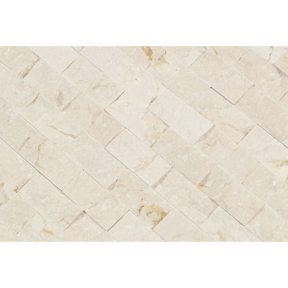 1 x 2 Split-faced Crema Marfil Marble Brick Mosaic Tile - Tilephile