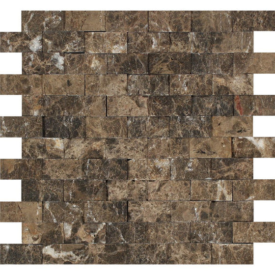 1 x 2 Split-faced Emperador Dark Marble Brick Mosaic Tile - Tilephile