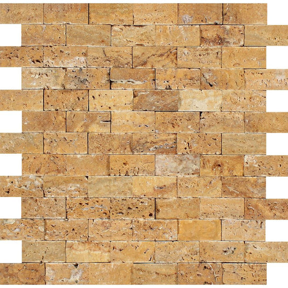 1 x 2 Split-faced Gold Travertine Brick Mosaic - Tilephile