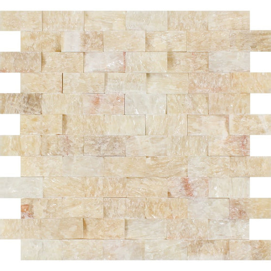1 x 2 Split-faced Honey Onyx Brick Mosaic Tile - Tilephile
