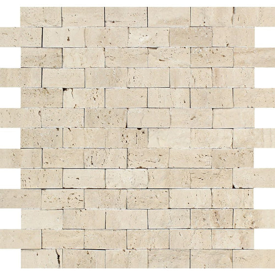 1 x 2 Split-faced Ivory Travertine Brick Mosaic Tile - Tilephile