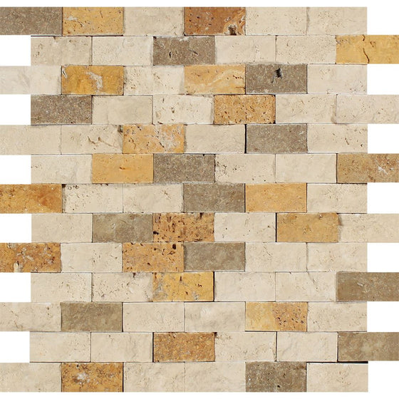1 x 2 Split-faced Mixed Travertine Brick Mosaic Tile (Ivory + Noce + Gold)