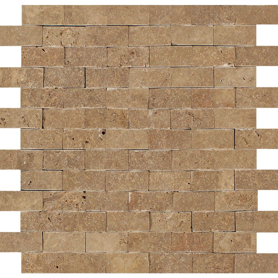 1 x 2 Split-faced Noce Travertine Brick Mosaic Tile - Tilephile